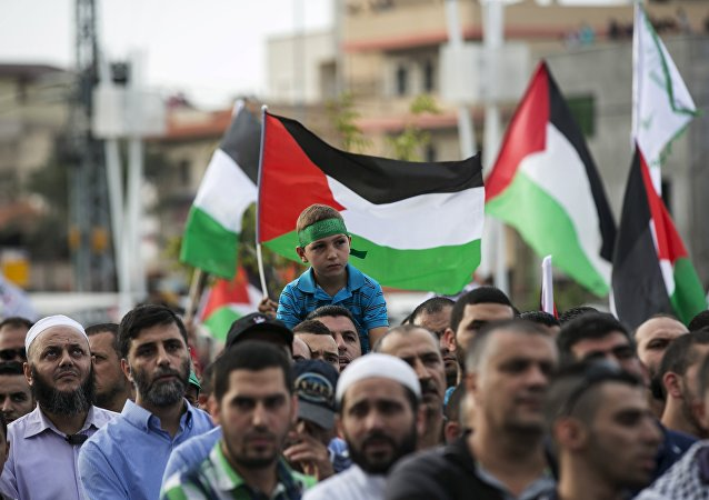Israeli-Arabs hold Palestinian flags during a pro-Palestinian demonstration in the northern Israeli town of Sakhnin October 13, 2015