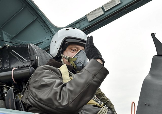 Ukrainian President Petro Poroshenko waves as he takes part in a testing flight onboard a Sukhoi Su-27 fighter aircraft during his working trip to Zaporizhia region on the Day of Defender of Ukraine, October 14, 2015