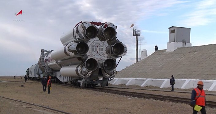 Proton-M Rocket Moved to a Launch Pad