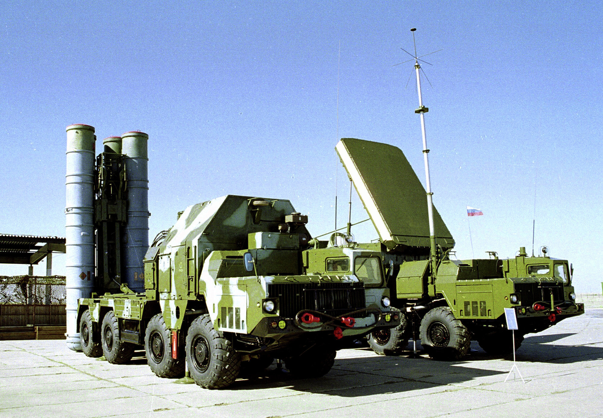 A Russian S-300 anti-aircraft missile system is on display in an undisclosed location in Russia