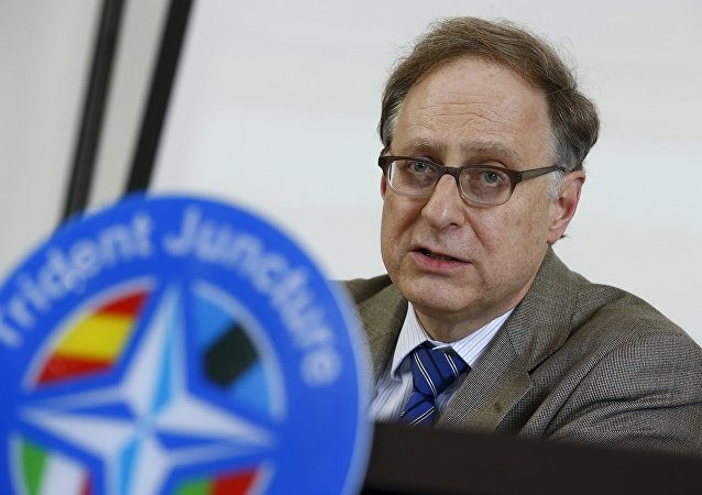 NATO Deputy Secretary General, Ambassador Alexander Vershbow talks during a news conference during a NATO military exercise at the Birgi NATO Airbase in Trapani, Italy October 19, 2015
