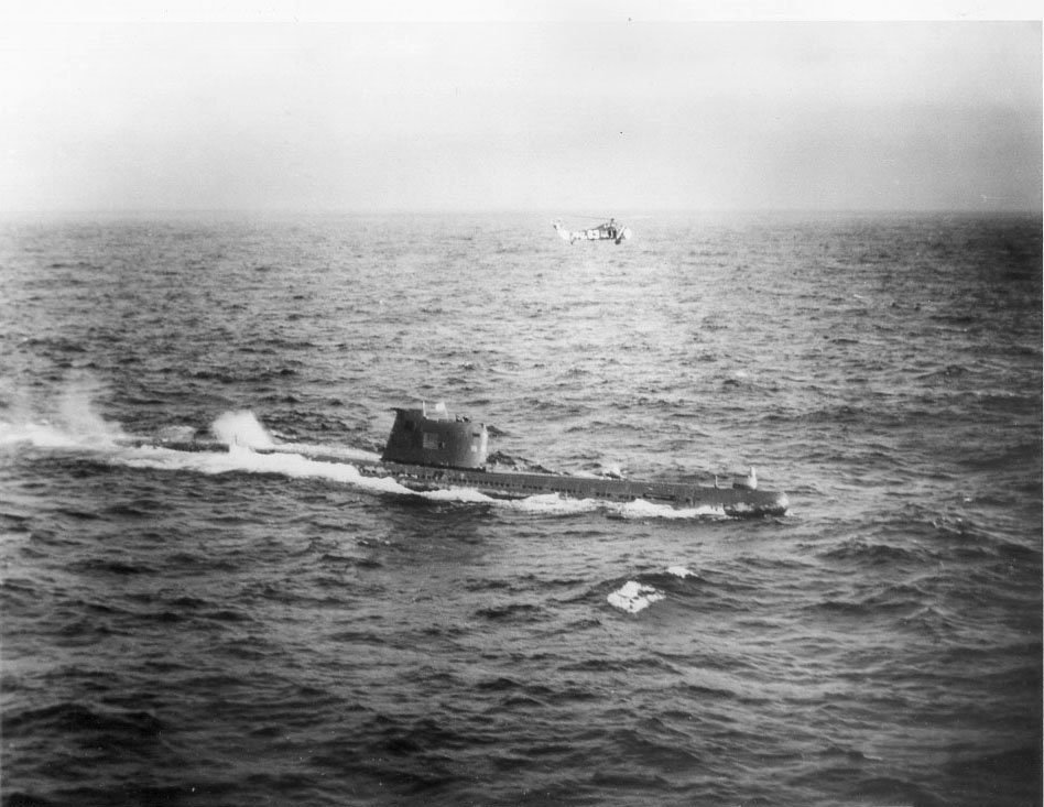 Soviet submarine B-59, forced to the surface by U.S. Naval forces in the Caribbean near Cuba