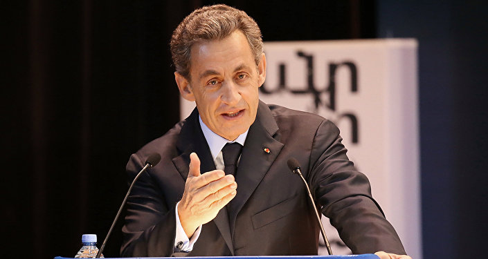 France's former President Nicolas Sarkozy gives speech to MGIMO University students