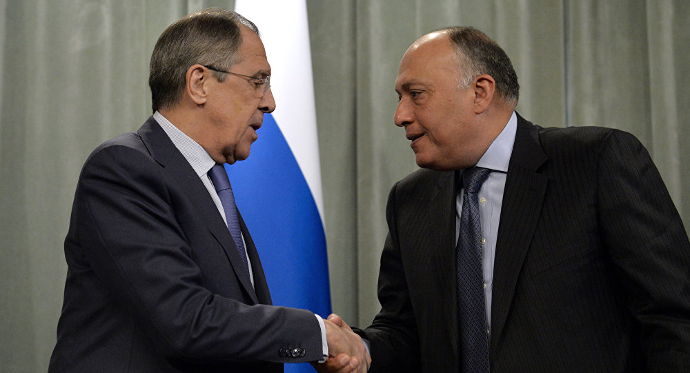 Russia's Foreign Minister Sergei Lavrov (L) shakes hands with his Egyptian counterpart Sameh Shoukry.