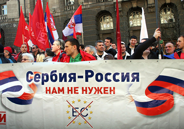 Members of the Dveri public movement during an anti government rally in Belgrade