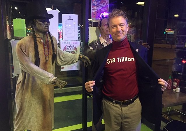 Stopped at Zombie Burger in Des Moines. I think my costume is scarier than these zombies, Rand Paul  said on his Twitter page