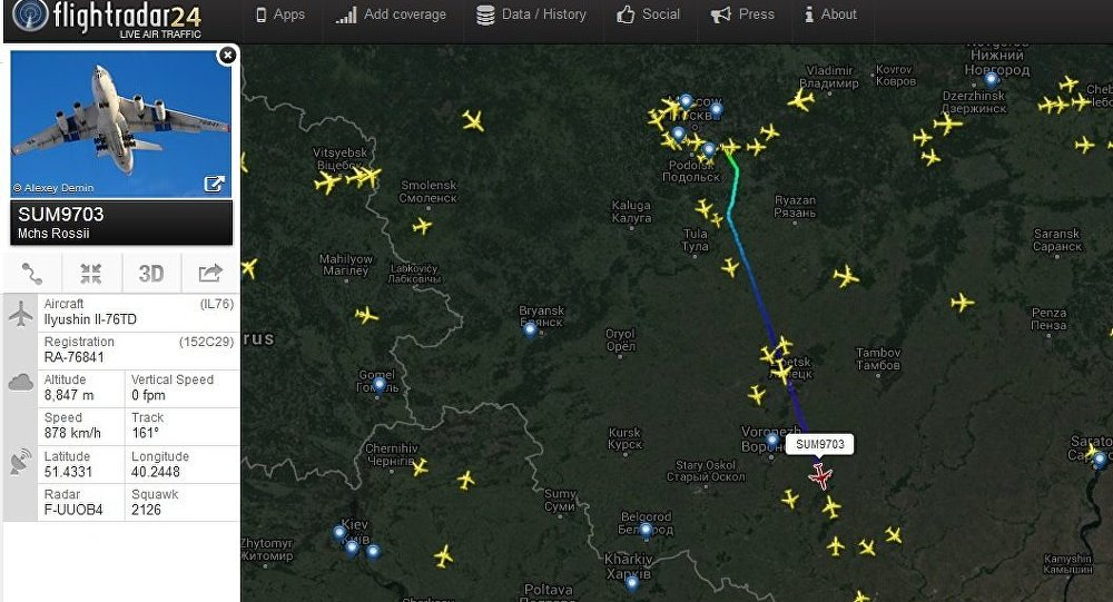 Location of the third Il-76 with rescue tem members on board can be tracked with FlightRadar24