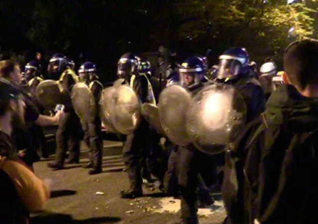 A riot erupted as police tried to shut down a rave in central London