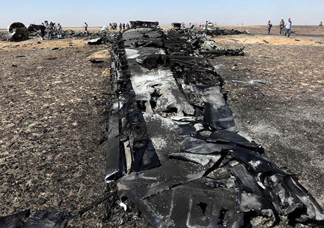Military investigators from Egypt and Russia stand near the debris of a Russian airliner at the site of its crash at the Hassana area in Arish city, north Egypt, November 1, 2015