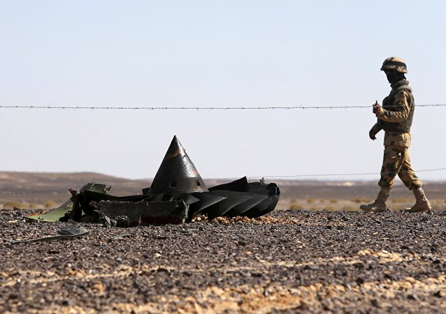 An Egyptian army soldier stands guard near debris from a Russian airliner which crashed at the Hassana area in Arish city, north Egypt, November 1, 2015