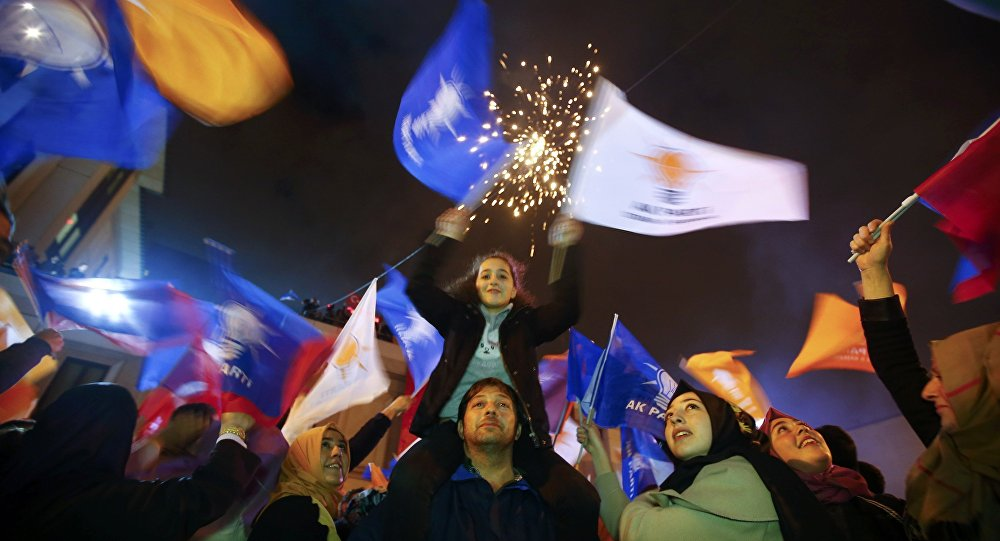 People wave flags outside the AK Party headquarters in Istanbul, Turkey November 1, 2015