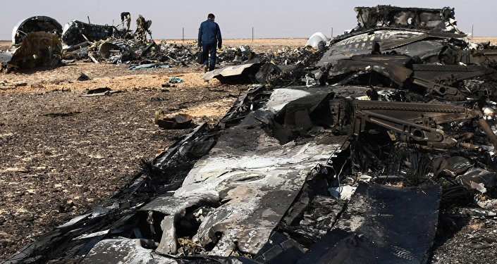 The fragments of the Airbus A321 that was carrying out Kogalymavia Flight 9268 from Sharm el-Sheikh to St. Petersburg, on the crash site 100 km south of El Arish in the northern Sinai Peninsula