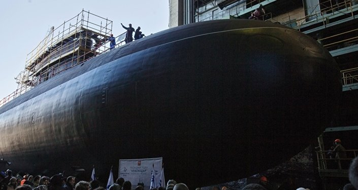 Launching the submarine Krasnodar in St. Petersburg