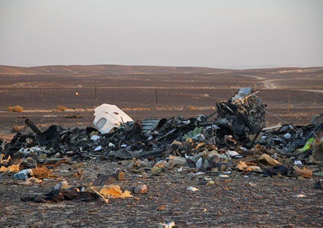 The wreckage of the Kogalymavia Airlines plane that crashed 100 km from Al-Arish on the Sinai Peninsula