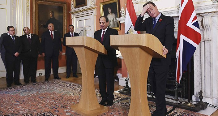 Britain's Prime Minister David Cameron (R) gestures during a news conference with Egypt's President Abdel Fattah al-Sisi at Number 10 Downing Street in London, Britain, November 5, 2015