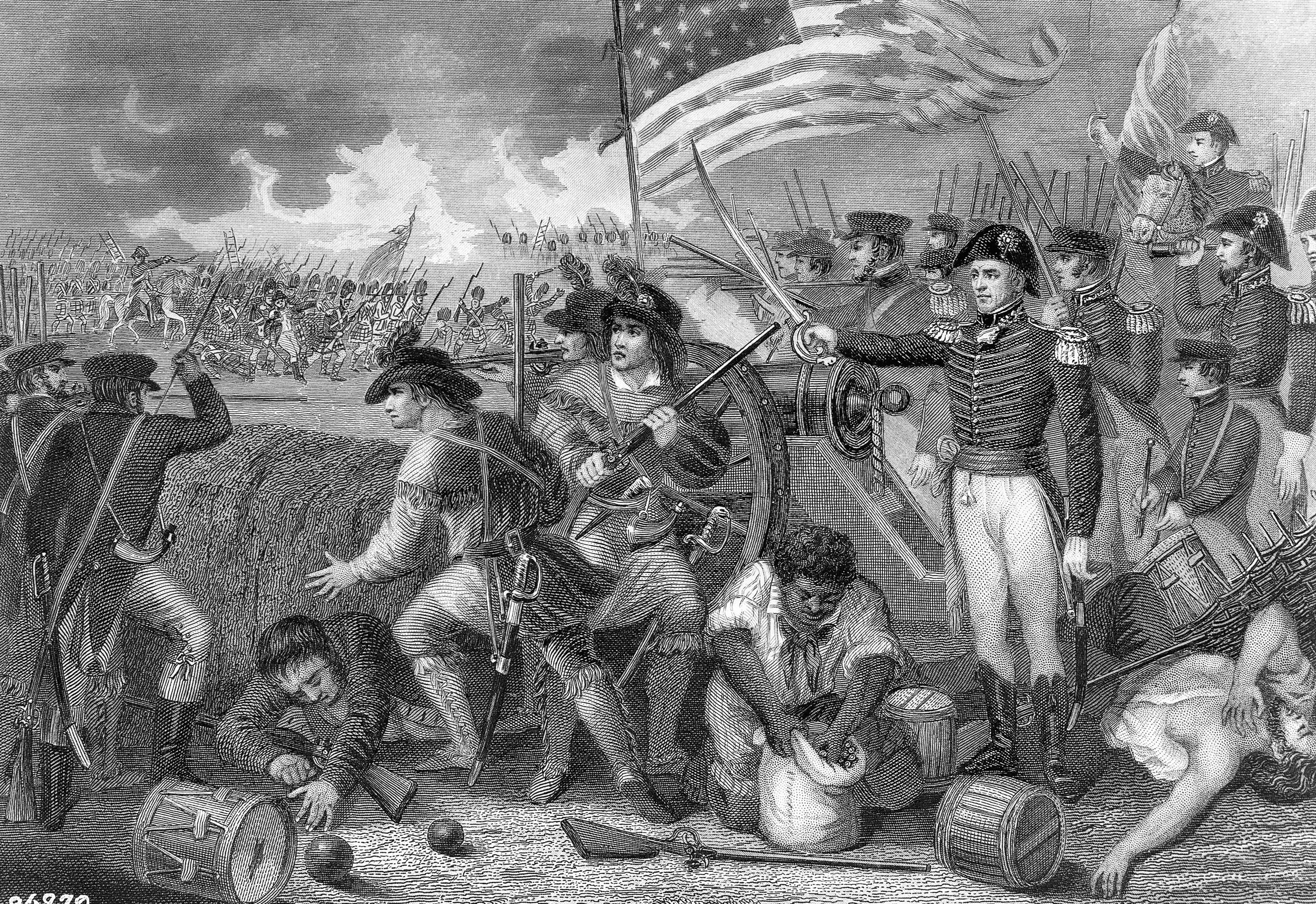 Battle of New Orleans showing General Andrew Jackson and his troops overcoming the British , in 1815, and scoring a victory which gave him a place of great popularity whit the people