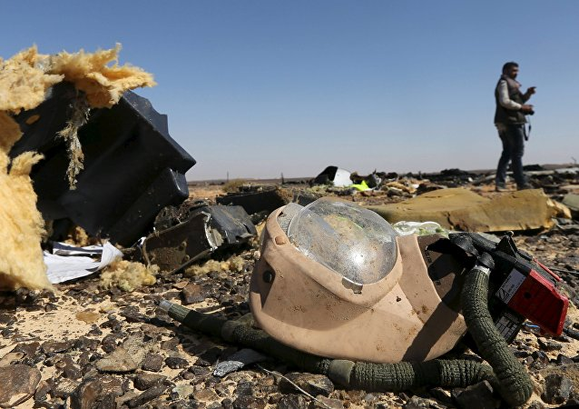 A debris from a Russian airliner is seen at its crash site at the Hassana area in Arish city, north Egypt, November 1, 2015