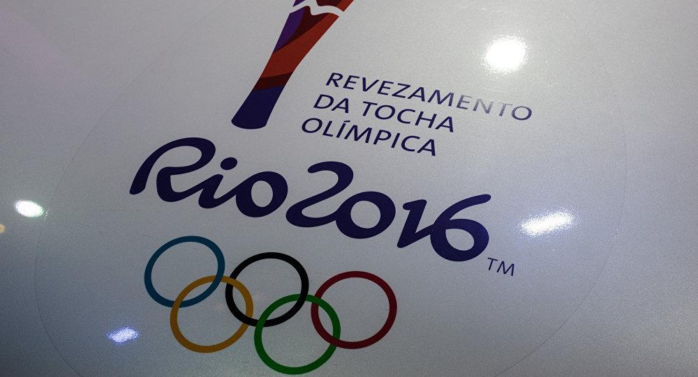 View of a Rio 2016 Olympic torch logo at the Jockey Club in Rio de Janeiro, Brazil