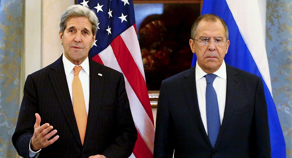 Russia's Foreign Minister Sergei Lavrov (R) and U.S. Secretary of State John Kerry address the media before a meeting in Vienna, Austria, November 14, 2015