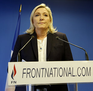 Leader of the French Far-right party the Front National (FN) Marine Le Pen delivers an address in Nanterre, suburban Paris on November 14, 2015, in response to the attacks in which at least 128 people were killed
