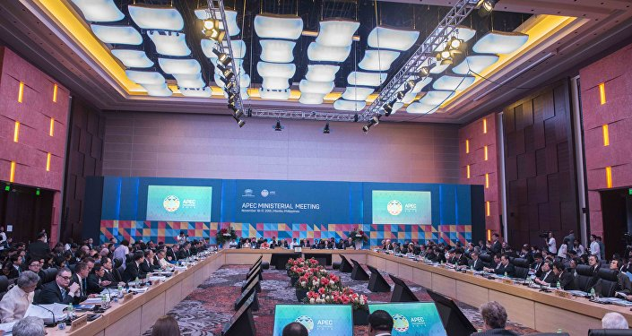 Delegates attend Asia-Pacific Economic Cooperation (APEC) Ministerial Meeting (AMM) in Manila on November 16, 2015