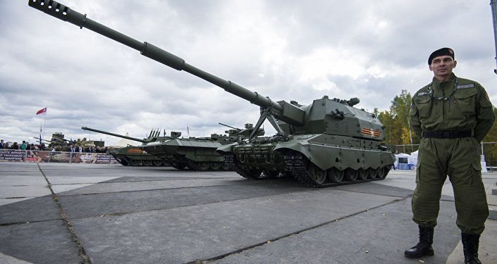 Self-propelled artillery gun 2S35 Coalition-SV displayed at the Russia Arms Expo