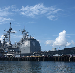 The guided missile cruiser USS Shiloh is anchored at Subic Bay, a former US naval base in the Philippines, on May 30, 2015