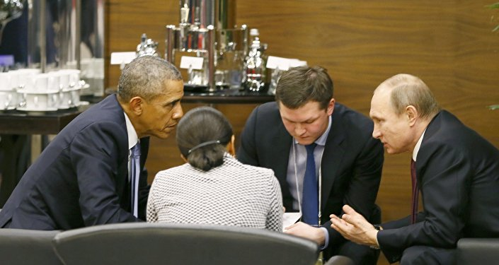 U.S. President Barack Obama (L) talks with Russian President Vladimir Putin (R) and U.S. security advisor Susan Rice (2nd L) prior to the opening session of the Group of 20 (G20) Leaders summit summit in the Mediterranean resort city of Antalya, Turkey November 15, 2015