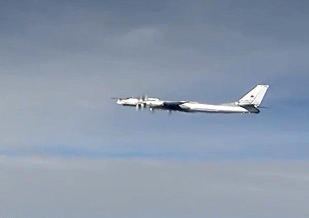 Tu-95MC M3 rocket aircraft of the Russian Aerospace Forces during a combat flight to strike the Islamic State infrastructure facilities in Syria with cruise missiles