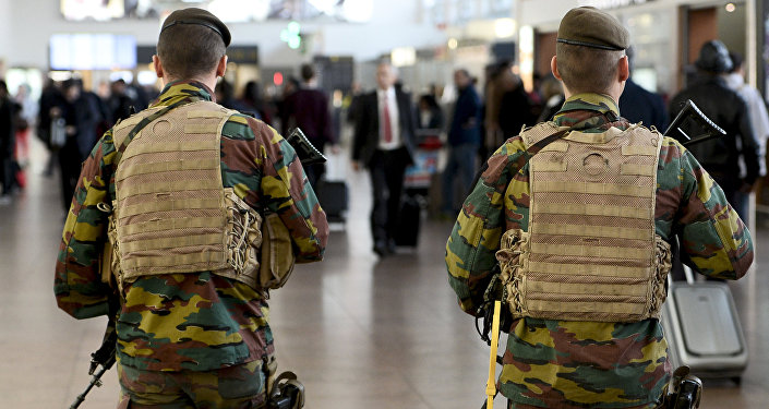 Military police soldiers patrol the Brussels Airport in Zaventem, eastern Brussels