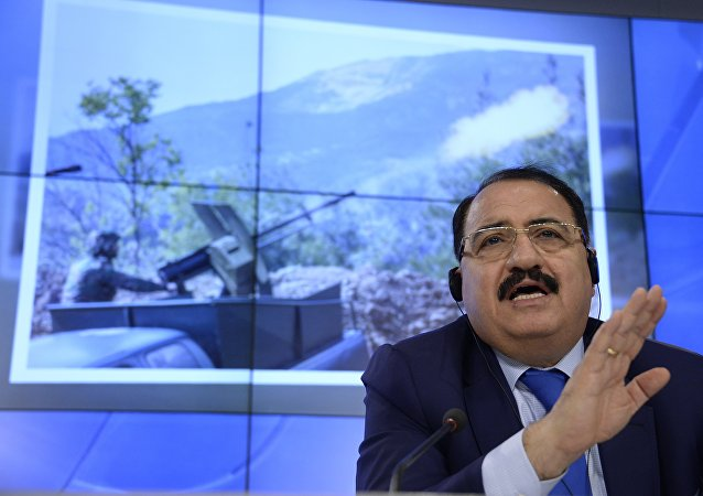 Syrian ambassador to Russia Riad Haddad speaks during a press conference in Moscow.