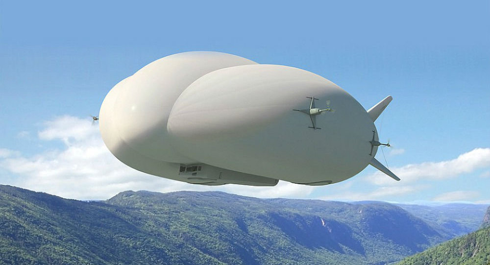 An artist's rendering of Lockheed Martin's new LMH1 hybrid airship