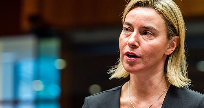 European Union High Representative for Foreign Affairs and Security Policy Federica Mogherini arrives for an EU foreign ministers meeting at the EU Council building in Brussels on Monday, Nov. 16, 2015
