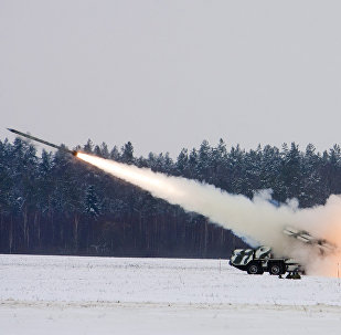 Drills involving live fire of Smerch multiple-launch rocket systems in western Belarus (file)