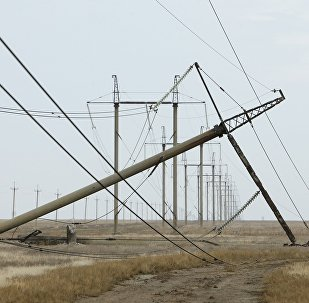A view shows a damaged electrical pylon near the village of Chonhar in Kherson region, Ukraine, November 23, 2015