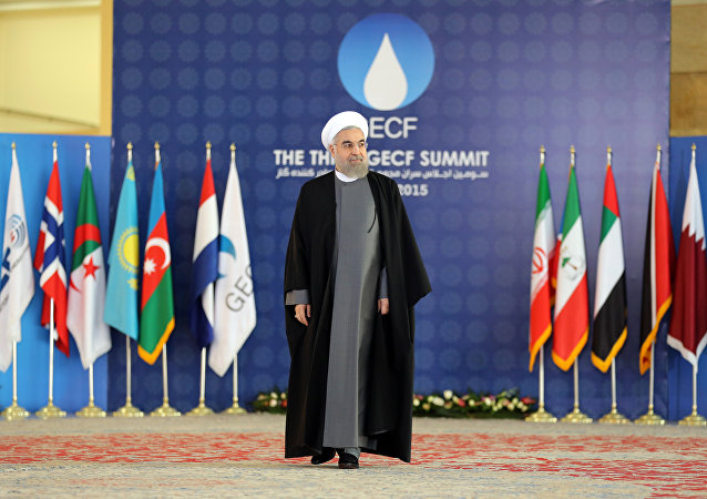Iranian President Hassan Rouhani attends a welcome ceremony during the Gas Exporting Countries Forum (GECF) summit in Tehran on November 23, 2015