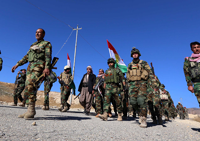 Iraqi autonomous Kurdish region's peshmerga forces and fighters from the Yazidi minority, a local Kurdish-speaking community which the Islamic State (IS) group had brutally targeted in the area, enter the northern Iraqi town of Sinjar, in the Nineveh Province, on November 13, 2015