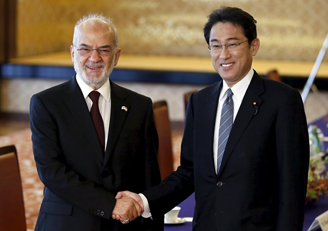Iraqi Foreign Minister Ibrahim al-Jaafari (L) shakes hands with Japan's Foreign Minister Fumio Kishida before their meeting at the foreign ministry's Iikura guest house in Tokyo, Japan, November 24, 2015