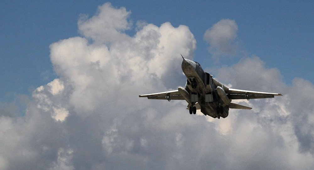 Russian Su-24 front-line bomber jet takes off at Latakia airport, Syria