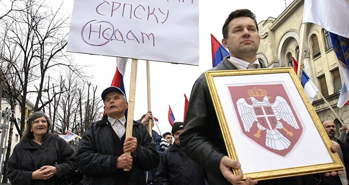 Bosnian Serbs rally 29 March 2007 in Banja Luka to demand a referendum on the independence of their entity of Republika Srpska