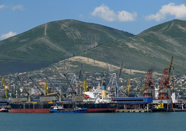 View at the cargo port of Novorossiysk.