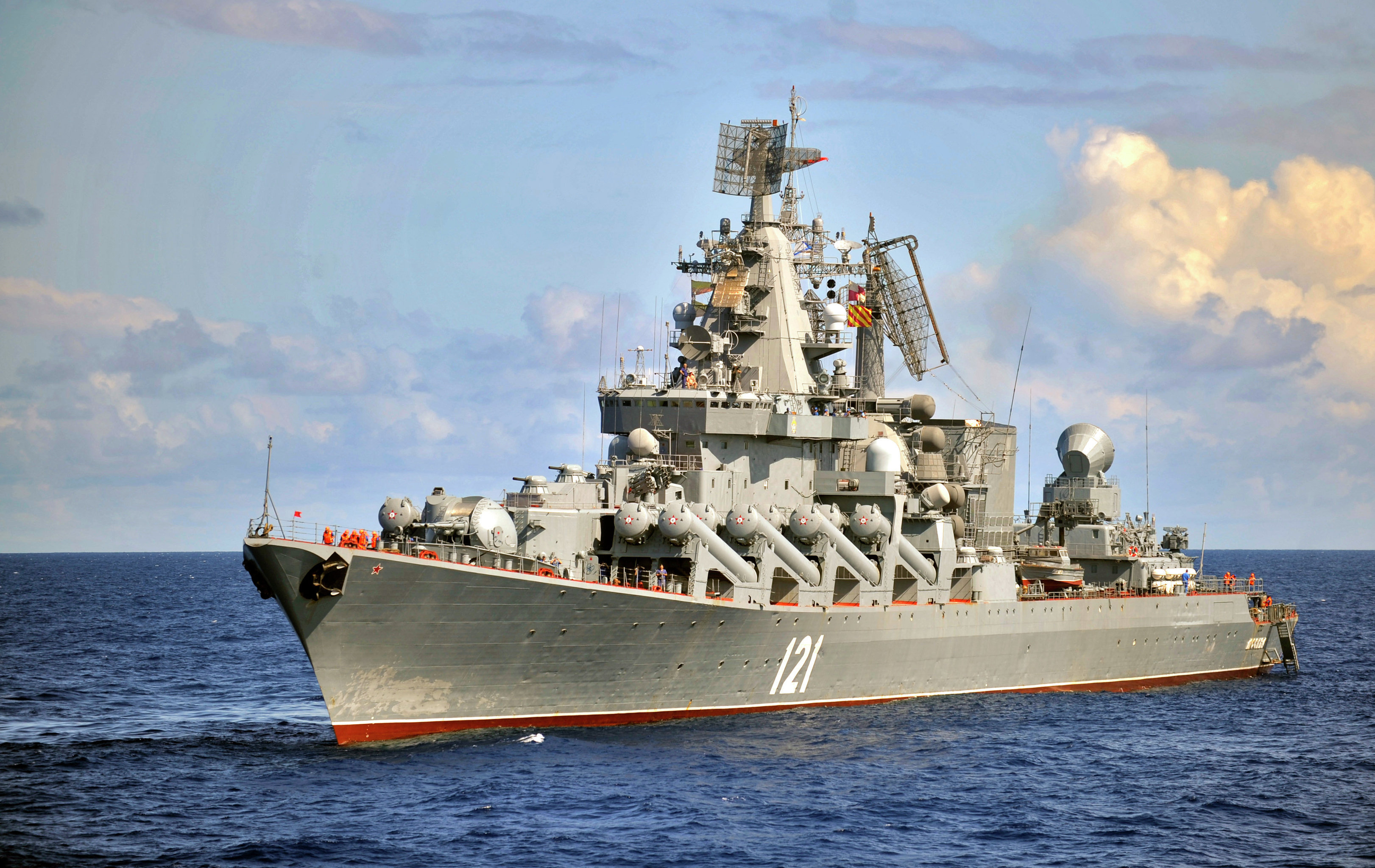 The Moskva guided missile cruiser, the flagship of Russia's Black Sea Fleet