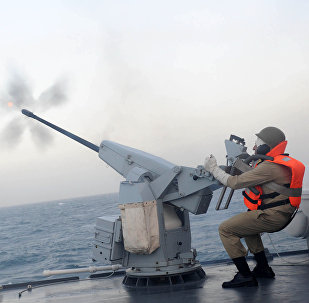 A member of Iran's navy, fires from the deck of Jamaran guided-missile destroyer, in an exercise, in the Persian Gulf, Iran. (File)
