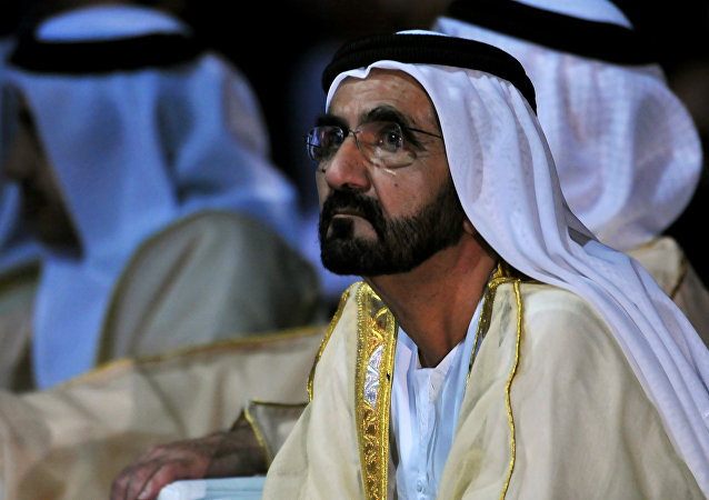 Sheikh Mohammed bin Rashid al-Maktoum, Prime Minister of the United Arab Emirates (UAE) and ruler of Dubai attends the presentation of the UAE Space Agency's strategic frameworks on May 25, 2015 at the National Exhibition Centre in Abu Dhabi