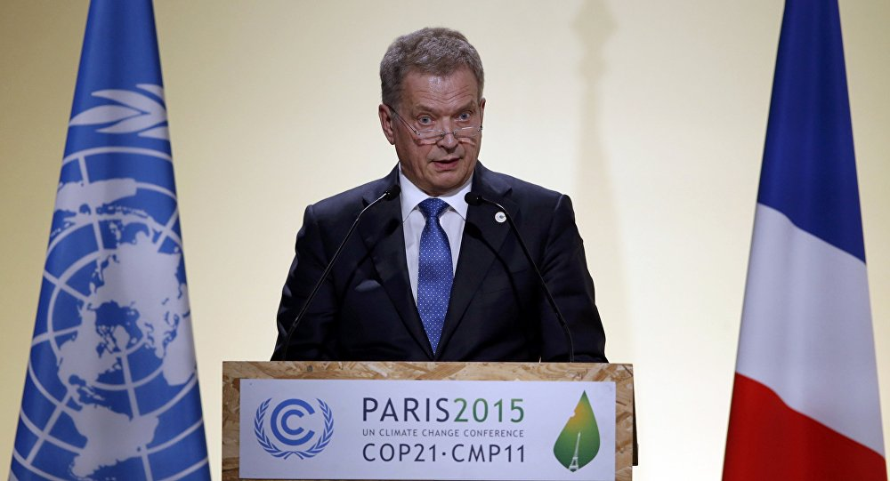 Finnish President Sauli Niinisto delivers a speech for the opening day of the World Climate Change Conference 2015 (COP21) at Le Bourget, near Paris, France, November 30, 2015