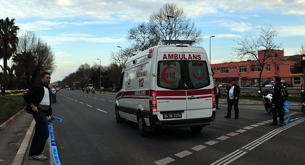 An ambulance drives in Istanbul.