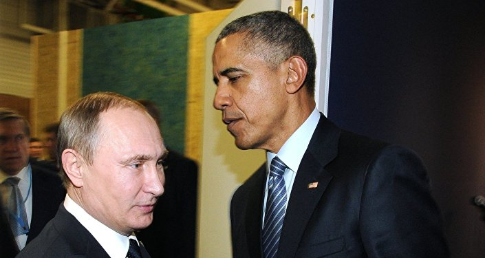 Presidents Vladimir Putin (left) of Russia and Barack Obama (center) of the United States taking part in the 2015 Paris Climate Conference - United Nations Framework Convention on Climate Change, November 30, 2015