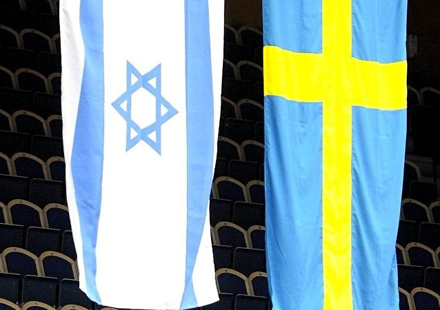 The Israeli and Swedish flags in the Baltic Arena in Malmo, Sweden, Friday March 6, 2009.