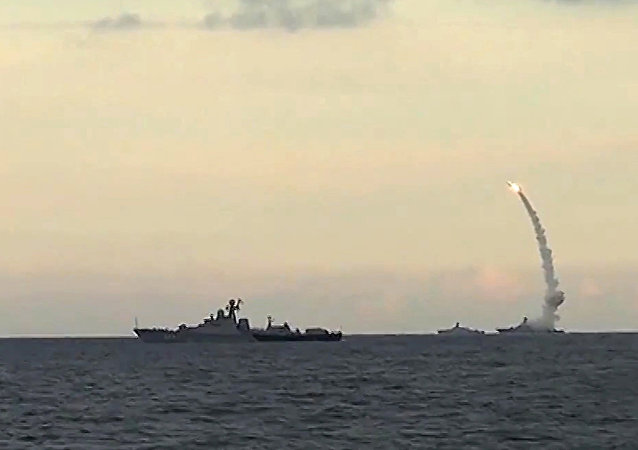 Russia's Caspian Fleet launches a massive attack involving 18 Kalibr-NK cruise missiles on 7 terrorist positions in the Syrian provinces of al-Raqqah, Idlib and Aleppo