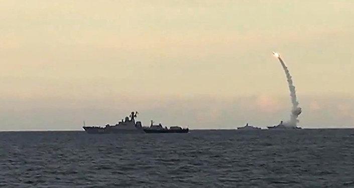 Russia's Caspian Fleet launches a massive attack involving 18 Kalibr-NK cruise missiles on 7 terrorist positions in the Syrian provinces of al-Raqqah, Idlib and Aleppo